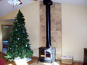 Wood Stove With Tile Backsplash
