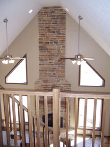 2-story brick fireplace