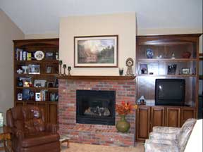 brick fireplace with hearth