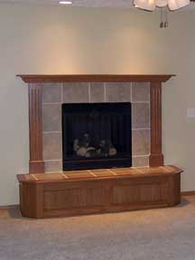 tile fireplace with custom wood hearth