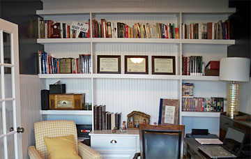 custom built-in book shelves in home office