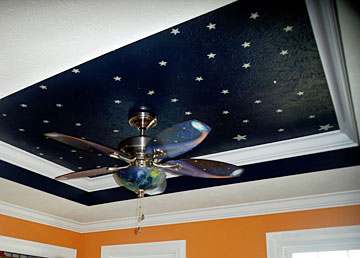 coffered ceiling with night sky motif