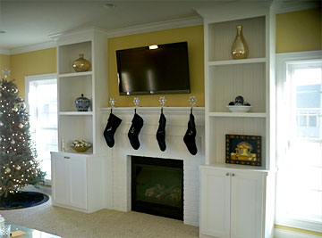 custome fireplace with built-in shelving