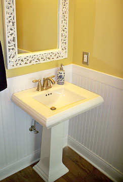 pedestal sink in powder bath