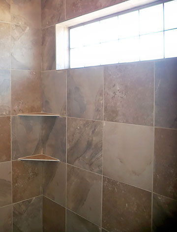 walk-in tile shower